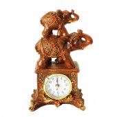 Pologift Polyester Dekoratif Kırmızı Taş İşli Filli Masa Saati-2