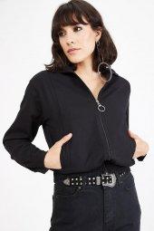 Kadın Siyah Fermuarlı Bomber Ceket-4