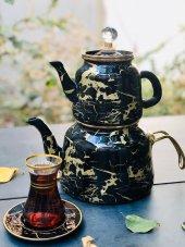Arow Dufy Siyah Mermer Emaye Çaydanlık
