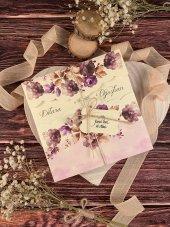 Özel Kesimli Çiçekli Düğün Ve Nişan Davetiyesi 100 Adet