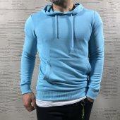 Yeni Sezon Erkek Kapüşonlu Sweatshirt Mavi