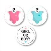Cinsiyet Partisi Girl or Boy Etiket Seti 3x3 cm 24 Adet