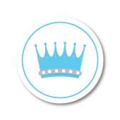 Mavi Prens Taç Etiket 3x3 cm 24 Adet