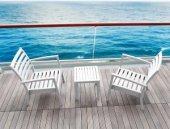 Siesta Ocean Mini Sehpa Bahçe Teras Havuz Şezlong Sehpası Beyaz-2