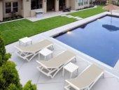 Siesta Ocean Mini Sehpa Bahçe Teras Havuz Şezlong Sehpası Beyaz-3