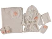 Broş Desenli 5li Bebek Bornoz Seti