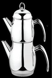 Besa Metal Büyük Boy Süzgeçli Çelik Çaydanlık