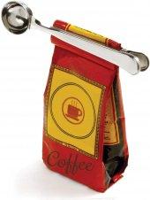 Paslanmaz Çelik Kahve Ölçü Kaşığı Ve Paket Klipsi 2si1 Arada