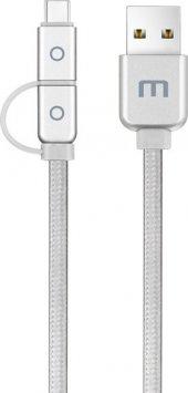 Meizu Micro Usb Ve Type C 2li Kablo (1.2 M) Gümüş