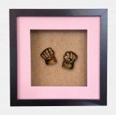 Küçük İzler siyah çerçeveli 3 boyutlu bebek el-ayak izi heykel seti ( aljinat ile )-2