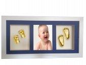 Küçük İzler resimli çerçeveli, 3 bölmeli, bebek 2 el- 2 ayak izi heykel seti-4