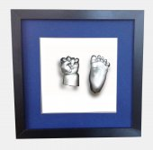 Küçük İzler siyah çerçeveli 3 boyutlu bebek el-ayak izi heykel seti ( aljinat ile )-3