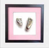 Küçük İzler siyah çerçeveli 3 boyutlu bebek el-ayak izi heykel seti ( aljinat ile )-4