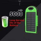 Power Bank 5000 Mah Solar Güneş Enerjili Powerbank Şarj Aleti Led Işıklı Batarya