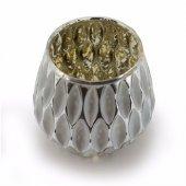Beyaz/Altın Cam Mumluk 11 cm-3
