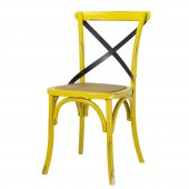 Tmall Home Antic Doğal Rattan & Ahşap Sandalye Eskitme Sarı