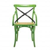 Tmall Home Doğal Rattan Ve Kolçaklı Ahşap Sandalye Antik Yeşil
