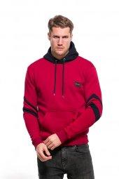 Erkek Sweatshirt Çizgi Detay Kollu Kapüşonlu Kırmızı