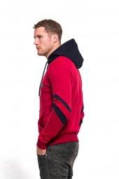 Erkek Sweatshirt Çizgi Detay Kollu Kapüşonlu Kırmızı-2