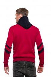 Erkek Sweatshirt Çizgi Detay Kollu Kapüşonlu Kırmızı-3
