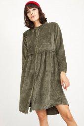 Kadın Haki Fitilli Kadife Kısa Elbise-2