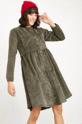 Kadın Haki Fitilli Kadife Kısa Elbise-4