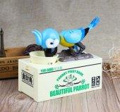 Parrot Piggy Bank Para Yiyen Papağan Kumbara - Mavi-3