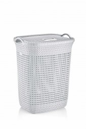 örgü Desenli Beyaz Rengi Plastik Kirli Çamaşır Sepeti 52 Lt
