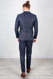 DeepSEA Lacivert Kare Desenli Takım Elbise 2001057-5