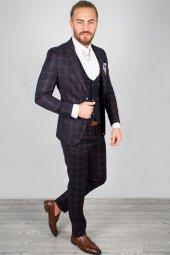 DeepSEA Kabartmalı Ekose Desenli Takım Elbise 2001145-2