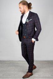 DeepSEA Kabartmalı Ekose Desenli Takım Elbise 2001145-3