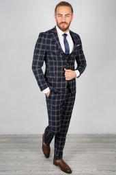 DeepSEA Kabartmalı Ekose Desenli Takım Elbise 2001145-6