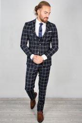 DeepSEA Kabartmalı Ekose Desenli Takım Elbise 2001145-7