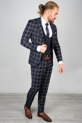 DeepSEA Kabartmalı Ekose Desenli Takım Elbise 2001145-8