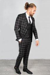 DeepSEA Kabartmalı Ekose Desenli Takım Elbise 2001145-12
