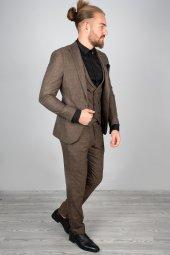 DeepSEA Kendinden Desenli Dar Kesim Mendilli Takım Elbise 2001166-4