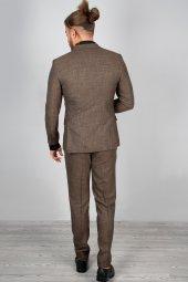 DeepSEA Kendinden Desenli Dar Kesim Mendilli Takım Elbise 2001166-5