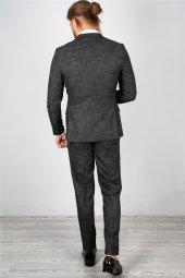 DeepSEA Kendinden Desenli Dar Kesim Mendilli Takım Elbise 2001166-10