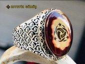 Kehribar Taşlı Ay Yıldız Motifli Gümüş Erkek Yüzük-2