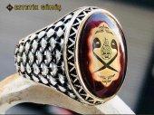 Kehribar Taşlı Ay Yıldız Motifli Gümüş Erkek Yüzük-4