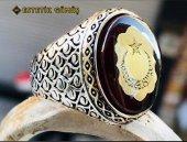 Kehribar Taşlı Ay Yıldız Motifli Gümüş Erkek Yüzük-5