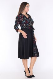 Schık Kadın Büyük  Beden Kruvaze Elbise Siyah 1593-2