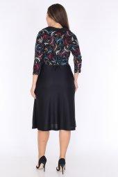 Schık Kadın Büyük  Beden Kruvaze Elbise Siyah 1593-3
