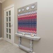 Kırmızı Pembe Renkli İkat Desenli Batik Duvar Örtüsü-7