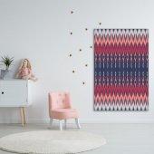 Kırmızı Pembe Renkli İkat Desenli Batik Duvar Örtüsü-3