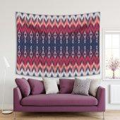 Kırmızı Pembe Renkli İkat Desenli Batik Duvar Örtüsü-2