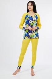 Uzun Kol Çiçekli Altı Tayt Kadın Pijama Takımı 9613