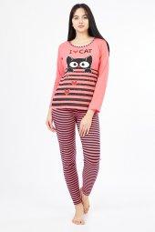 Uzun Kol Kedi Baskılı Altı Tayt Kadın Pijama Takımı 9883