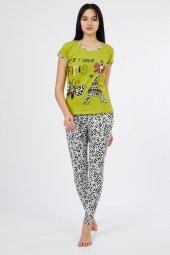 Kısa Kol Paris Alt Tayt Kadın Pijama Takımı 9839