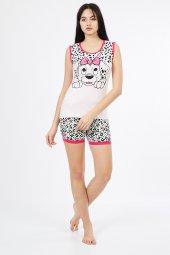 Kısa Kol Benekli Altı Şortlu Kadın Pijama Takımı 641